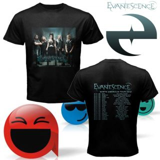 New Evanescence American Tour 2012 Two Side Black Shirt s M L XL 2XL