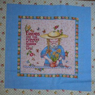 Mary Engelbreit Fabric Pillow Panel Friends Garden Girl
