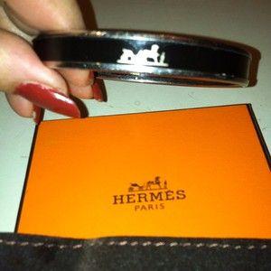 Hermes Enamel Caleche Bangle Bracelet Black Silver