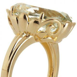 Technibond® 7.2ct Oval Green Amethyst Filigree Ring