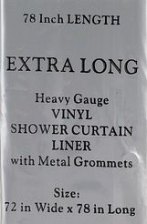 Extra Long Vinyl Shower Curtain Liner 78 Long Super Clear Color Brand