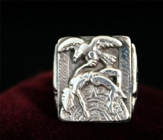 Extraordinary Vintage Mens Silver Aztec Ring 32 Grams