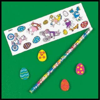 Easter Bunny Basket Pencil Erasers Stickers ABCraft