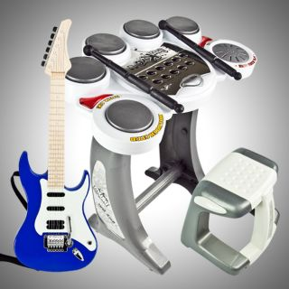 Electronic Toy Drum Set Digital Pad Music Blue Guitar Rock Band