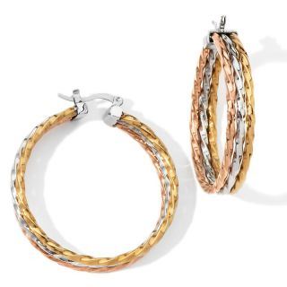 rope design tri color triple hoop earrings rating 80 $ 12 95 s h $ 1