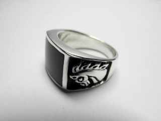 925 Sterling Silver Black Onyx Engraved Horse Knight Mens Thick Ring