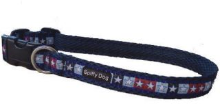 Spiffy Dog Navy Stars Pet Dog Collar Lightweight Quick Drying & Odor