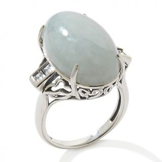 Jade of Yesteryear Green Jade and CZ Sterling Silver Heart Ring