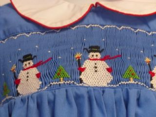 maria elena smocked blue romper w snowmen sz 24mos