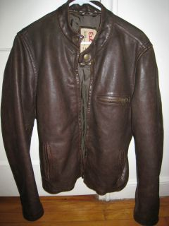 Mens Abercrombie Fitch Ezra Fitch Leather Motorcycle Jacket M Medium