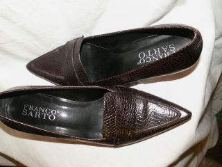 Franco Sarto Leather Point Toe Heels Loafers Dark Brown 8 M