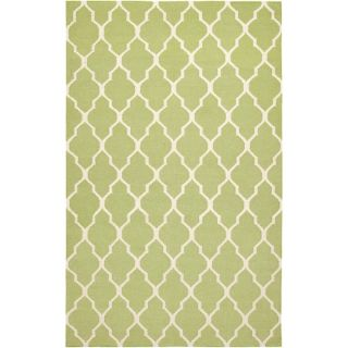 Rizzy Home Swing Hand Woven Dhurrie Rug Lime   2 x 3 at