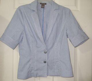 Kenar Short Sleeve Pin Striped Blazer Shirt Sz 8 Med