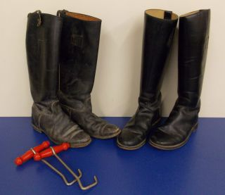 Leather Equestrian Riding Boots Lot of Two Pairs with Two Boot Hooks