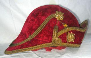 1800s Medieval Knight Victorian Velvet Costume Hat Helmet w Bullion