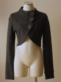 Anthropologie Sparrow Charcoal Gray Boiled Wool Cropped Cardigan