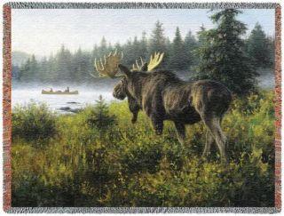 Elk Moose Mountain Lake Tapestry Blanket Afghan Throw