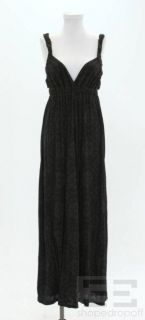 Ella Moss Black Brown Print Cotton Sleeveless Maxi Dress Size Small