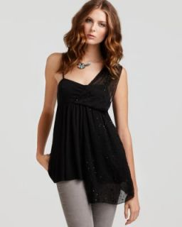 Free People New Fairuza Black Sequined One Shoulder Pullover Top Shirt