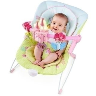 Disney Baby Princess Flowers and Fairytales Castle Pink Bouncer Seat