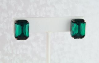 Rivers Hematite EP Stud Earrings w Faux Green Emerald Crystals