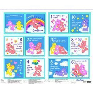 Quilt Cotton Fabric Care Bears Counting Book Panel