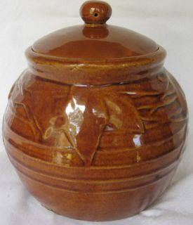 Pottery Brown Bean Pot Gloss Ceramic Cookie Jar RARE 1940s Mint