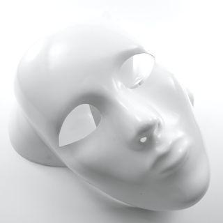 Mask Full Face Plastic Plain   White   Costume Party Fancy Dress