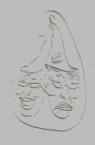 Vintage Acetate Tattoo Stencil Sad Face Happy Face Mask Box A