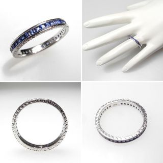Estate Blue Sapphire Eternity Wedding Band Stacking Ring Solid 18K