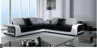Modern Black White Leather Sectional Sofa Couch B 333