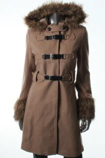 Famous Catalog Moda New Tan Wool Faux Fur Trim Hooded Buckle Front