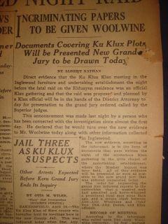 270437CR KU Klux Klan KKK Night RAID Evidence Woolwine April 29 1922