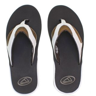 Mens Reef Leather Fanning White Brown Sandals Flip Flops Size 6 12