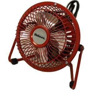 Holmes HNF0410A RM 4 Personal Mini Fan Adjustable Tilt Head Metal Red