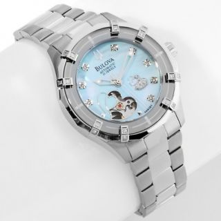 136 365 bulova ladies automatic open heart diamond bracelet watch