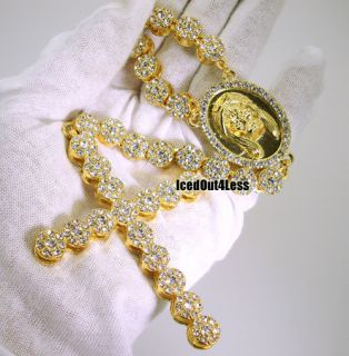 Custom Fully Iced Out Gold Finish Cluster Hip Hop Rosary Chain