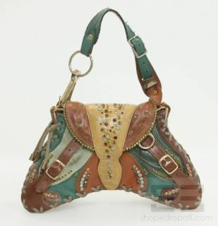 Bracher Emden Brown Teal Leather Patchwork Jeweled Bag