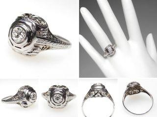 Antique Estate Diamond Engagement Ring 18K White Gold Filigree Art