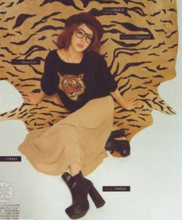 Japan Fashion Girls Crewneck Long Sleeve Tiger Head Knitting Tops