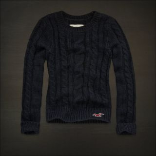 New Hollisterabercrombie Fitch Womens Sweater Cable Knit Sweater Navy