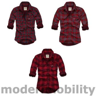 New Hollister Womens Fallbrook Long Sleeve Red Plaid Button Up Shirt