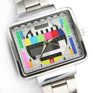 Jialilei Fashion TV No Signal Full Metal Stainless Steel Men Ladies
