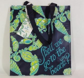 LILLY PULITZER FALLIN IN LOVE MARKET BAG Sea Shells Green Recyclable