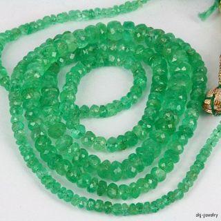 Colombian Emerald Gemstone Bead Strand   High Grade Natural Emerald