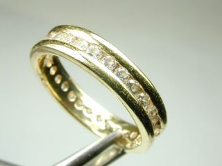 18K Solid Yellow Gold Eternity Ring with Channel Set White Stones Size