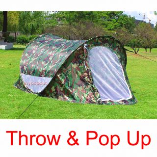 Camouflage Fun Portable Family Easy Setup Pop Up Camping Hiking Tent