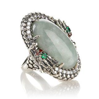 Jewelry Rings Gemstone Jade of Yesteryear Jade and CZ Dragon Head