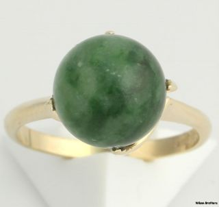 Solitaire Genuine 10mm Nephrite Jade Cocktail Ring   14k Yellow Gold
