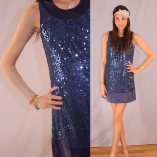 Betsey Johnson Evening Sequin Mini Dress Shade of A Blue Purple Size 4
